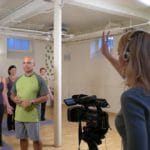 Filming a video for Rolf Gates Yoga