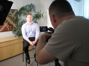 "Mike, ""The Intern"" helping out on our shoot at Duane Morris LLP"