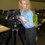Boston Video Producer, Christina Skillman, setting up the camera for a live event