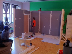 Former SVG Intern and current SVG Set Designer & Assitant Editor, Chris Plummer working on the set!