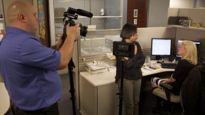 Skillman Cinematographer filming employees at Amica call center.