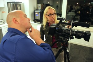 Boston Video Producers checking the view for live roundtable event at Pan's office in Boston