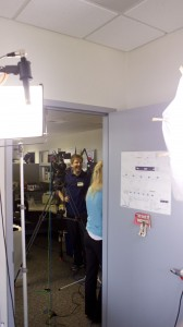 View of light and camera setup from subjects point of view for testimonial video