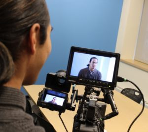 interviewee video production footage